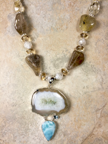 Dyed Drusy Agate, Larimar, Citrine, Rutile Quartz Necklace - SOLD