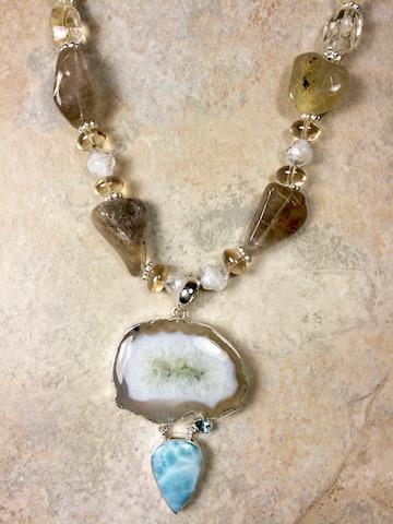 Dyed Drusy Agate, Larimar, Citrine, Rutile Quartz Necklace - SOLD