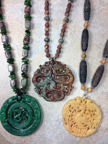 Jade & Stone Pendants  SOLD !