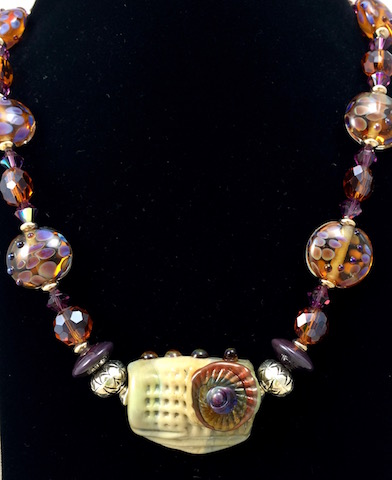 Lampwork Glass and Chrystal Necklace