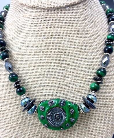 """Green with Envy"" Steampunk Focal"