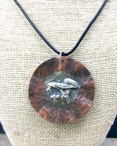Industrial Copper & Fine Silver Disc Necklace