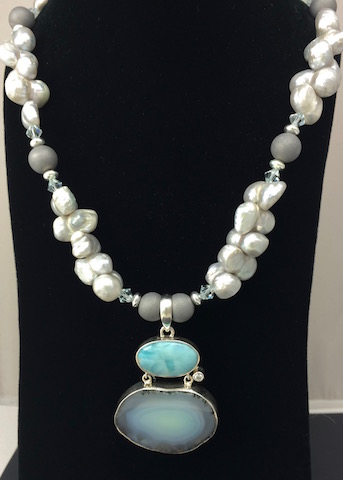 Drusy Agate, Larimar, Blister Pearl Necklace - SOLD