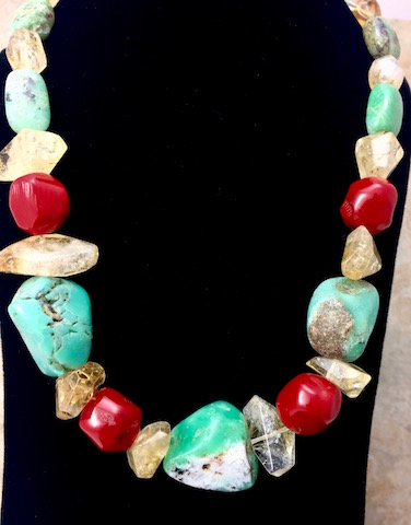 Chunky Natural Chrysoprase, Red Coral, Citrine, Drusy Necklace - SOLD