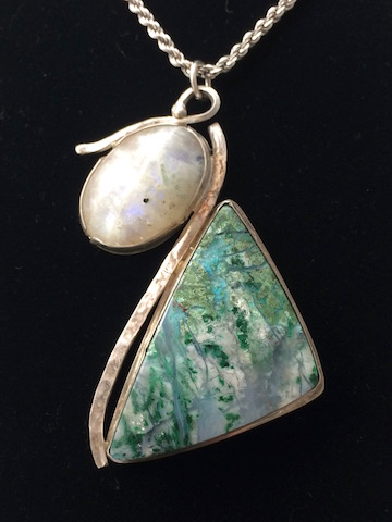 Unusual Malachite in Agate and Moonstone in Sterling Pendant