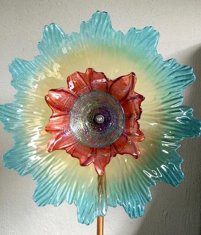"""16"""" Triple Art Glass Flower - SOLD!"""