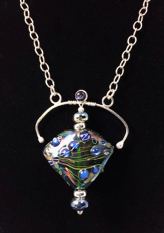 ** NEW **  Custom Glass Bead and Sterling Silver Framed Pendant