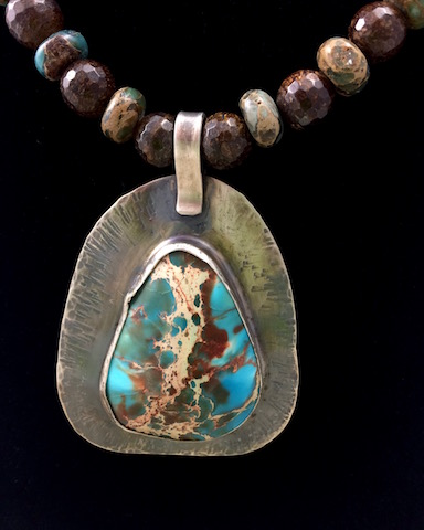 Magnesite in Sterling Silver with Crackle Fire Agate and Magnesite Beads - SOLD !