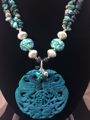 Delicate Carved Jadestone Pendant with Turquoise and Lampwork Glass Necklace