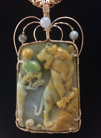 Exquisite Yellow & Green Burmese Carved Jadeite Pendant.  Tiger