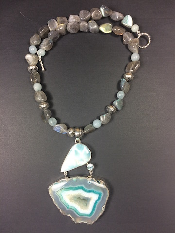 Agate Drusy, Larimar, Blue Topaz, Labradorite Necklace - SOLD