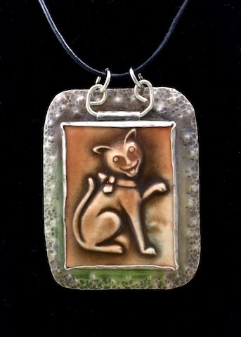 Adorable Porcelain Cat Tile in Sterling Silver
