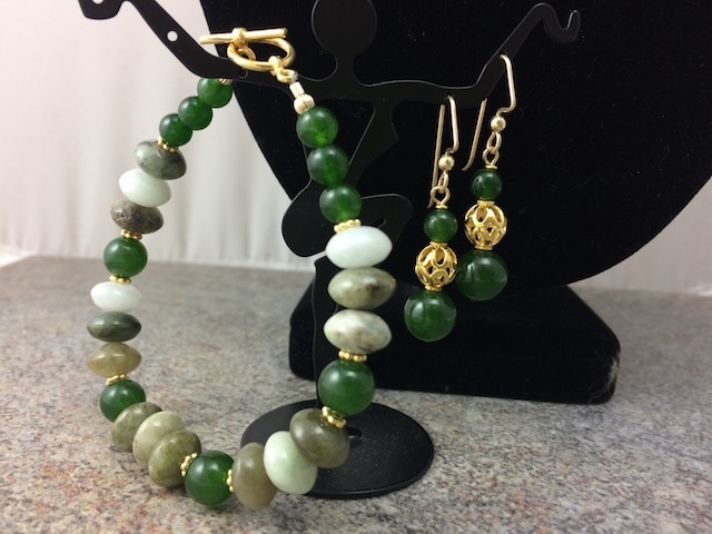 Jade and Gold Filled Earrings