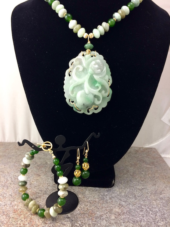 Vintage Carved Jadeite Pendant & Necklace
