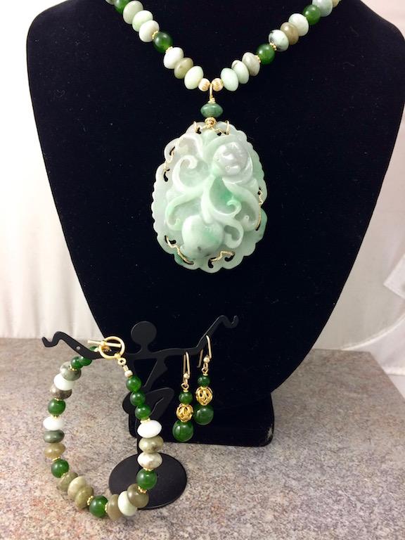 Vintage Carved Jadeite Pendant & Necklace