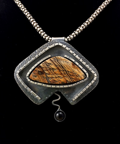 Petrified Wood in Custom Sterling Pendant - SOLD