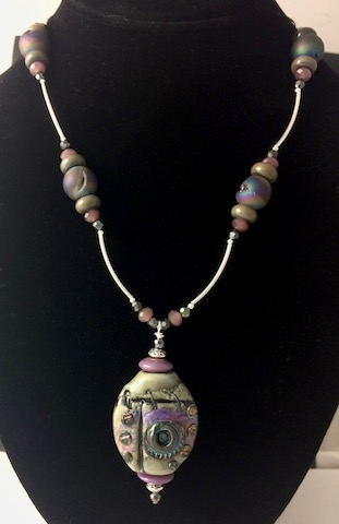 Steampunk Lampwork Focal Bead with Dyed Drusy & Sterling Silver Necklace - SOLD !