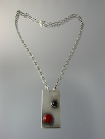 Minimalist in Red and Black Sterling Pendant
